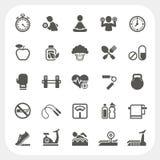 Icone di forma fisica e di salute messe Immagine Stock