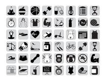 Icone di forma fisica messe Fotografia Stock