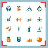 Icone di forma fisica | in serie del blocco per grafici Fotografia Stock