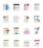 Icone di formattazione della Tabella e della base di dati Fotografie Stock