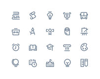Icone di formazione e del banco Linea serie Immagine Stock