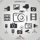 Icone di fotografia ed icone di funzione della macchina fotografica Immagini Stock