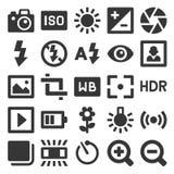Icone di fotografia messe su fondo bianco Vettore royalty illustrazione gratis