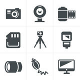 Icone di fotographia impostate Fotografia Stock