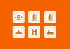 Icone di funzionamento dell'ufficio. Vettore Immagini Stock Libere da Diritti