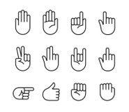 Icone di gesti di mano Fotografie Stock Libere da Diritti