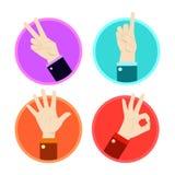Icone di gesto di mano messe Fotografia Stock Libera da Diritti