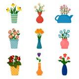 Icone di giardinaggio, piante da appartamento in vasi fotografie stock