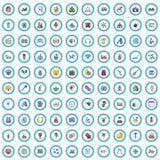 100 icone di gioco messe, stile del fumetto illustrazione di stock