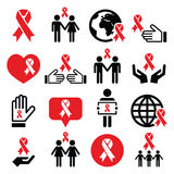 Icone di Giornata mondiale contro l'AIDS messe - simbolo rosso del nastro Immagini Stock