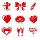 Icone di giorno dei biglietti di S. Valentino Fotografie Stock