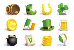 Icone di giorno del ` s di St Patrick ed insieme di simboli Immagini Stock Libere da Diritti