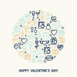 Icone di giorno e di nozze di biglietti di S. Valentino Immagini Stock Libere da Diritti