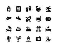 Icone di glifo del fronte di viaggio fotografia stock