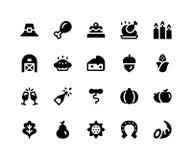 Icone di glifo di ringraziamento immagini stock libere da diritti