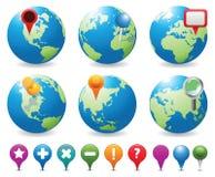 Icone di Globes&Navigation Immagine Stock