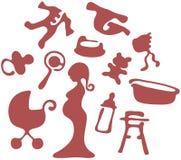 Icone di gravidanza Fotografia Stock