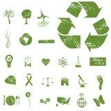 Icone di Grunge Eco Fotografia Stock
