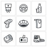 Icone di guida in stato di ebbrezza messe Illustrazione di vettore Fotografia Stock Libera da Diritti