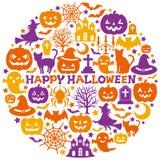 Icone di Halloween nel cerchio Fotografia Stock Libera da Diritti