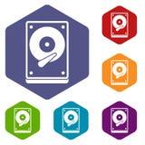 Icone di HDD messe Fotografia Stock