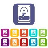 Icone di HDD messe Fotografie Stock
