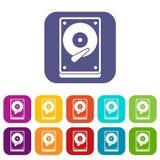 Icone di HDD messe Fotografia Stock Libera da Diritti