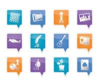 Icone di hobby, di svago e di festa Immagini Stock Libere da Diritti