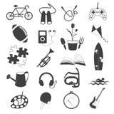 Icone di hobby isolate su fondo bianco Immagini Stock Libere da Diritti