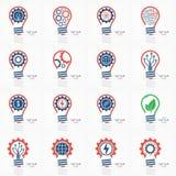 Icone di idea della lampadina impostate Fotografia Stock