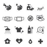 Icone di igiene messe Fotografie Stock Libere da Diritti