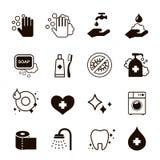 Icone di igiene messe illustrazione di stock