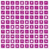 100 icone di illuminazione di via hanno fissato il rosa di lerciume Immagini Stock