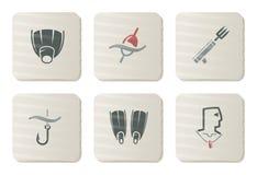 Icone di immersione subacquea e di pesca | Serie del cartone illustrazione vettoriale