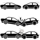 Icone di incidente stradale Fotografia Stock