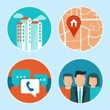 Icone di indirizzo e del telefono dell'ufficio di vettore nello stile piano Fotografie Stock Libere da Diritti