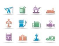 Icone di industria della benzina e del petrolio Fotografia Stock