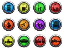 Icone di industria della benzina e del petrolio messe Immagini Stock Libere da Diritti