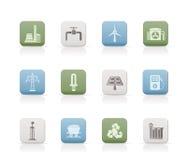 Icone di industria di elettricità e di potenza Fotografia Stock