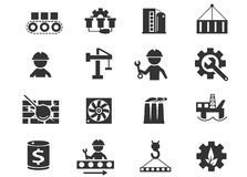 Icone di industria impostate Immagini Stock Libere da Diritti