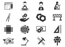 Icone di ingegneria impostate Fotografie Stock