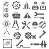 Icone di ingegneria, ingranaggi, strumenti illustrazione vettoriale