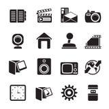 Icone di Internet, del computer e del telefono cellulare della siluetta Fotografia Stock