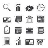Icone di Internet di affari e dell'ufficio della siluetta Fotografia Stock