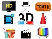 Icone di intrattenimento e di film royalty illustrazione gratis