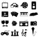 Icone di intrattenimento impostate royalty illustrazione gratis