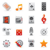 Icone di intrattenimento impostate   Serie rosso 02 illustrazione vettoriale