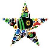 Icone di intrattenimento nella figura della stella illustrazione di stock