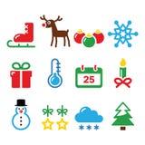 Icone di inverno di Natale messe Fotografia Stock