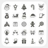 Icone di inverno e di Natale messe Fotografia Stock